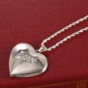 Locket necklace braided chain love